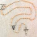 Silver Pink Rosary Necklace 3mm