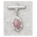 Sterling Silver Pink Miraculous Medal Baby Pin