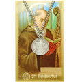 St. Benedict Pewter Medal on Chain with Holy Card