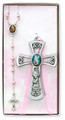 Pewter Girl Cross w/ G.A. Rosary Set