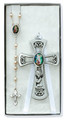 Pewter Girl Cross W/ G.A. Rosary Set Lt. Blue