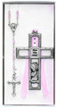 Pewter Girl Cross & Rosary Set