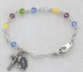 "5-1/2"" Multi Color Rhodium Baby Bracelet"