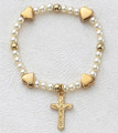 Gold Baby Stretch Bracelet w/Cross