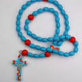 Blue & Multi Color Wood Baby Rosary