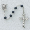 Sterling Silver 4MM Blue Glass Rosary