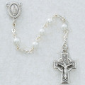 Sterling Silver 5MM Pearl Rosary With Celtic Cross