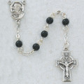 SS 5MM BlackPearl Rosary With Celtic Cross