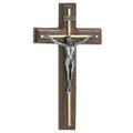 10 Inch Walnut Crucifix W/Silver Overlay
