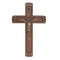 13 Inch Walnut Crucifix Sick Call Set