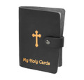 Black with Gold Stamped Leatherette Card Holder