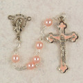 5mm Ink Glass Rosary With Pink Enamel Crucifix, Gift Boxed