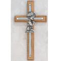 "Oak and Silver Praying Boy Cross 7"""