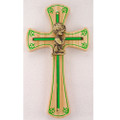 Oak Boy Cross with Shamrocks 6""