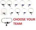 NFL Football Team Logo Womens Ladies Bead Bracelet Pick Your Team