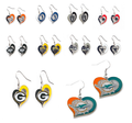 NFL Football Swirl Heart Earrings Pick Your Team