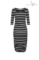 Women's 3/4 Sleeve Bamboo Dress - Black Double Stripe