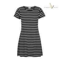 Women's T-shirt Bamboo Dress - Black Double Stripe