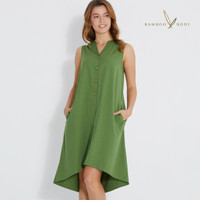 Woven Bamboo Button Dress - Verdant green