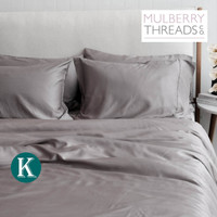 Bamboo Sateen Quilt Cover by Mulberry Threads Co. - KING - Steel
