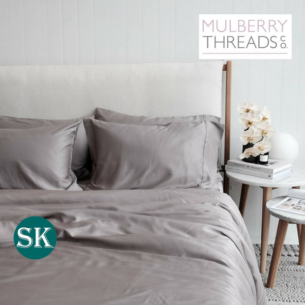 Bamboo Sateen Quilt Cover by Mulberry Threads Co. - SUPER KING - Steel