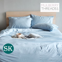 Bamboo Sateen Quilt Cover by Mulberry Threads Co. - SUPER KING - Sky Blue