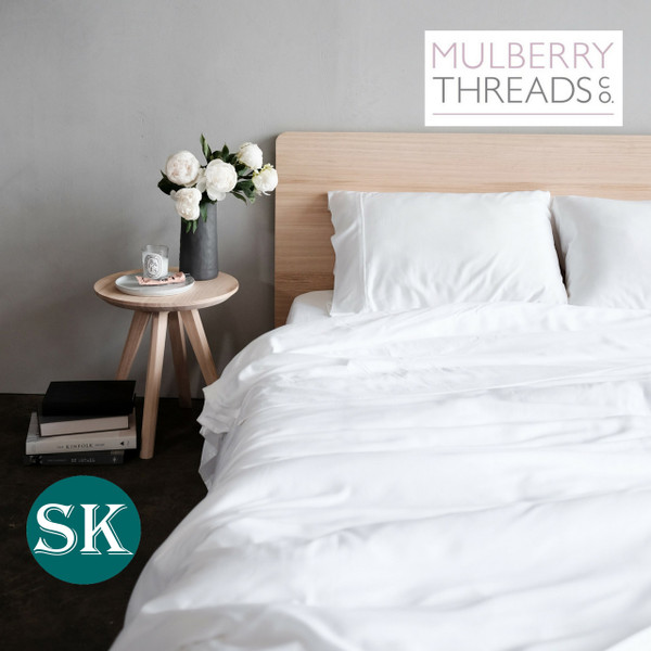 Bamboo Sateen Quilt Cover by Mulberry Threads Co. - SUPER KING - White