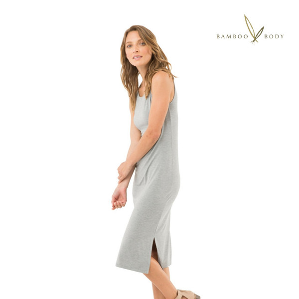Women's Long Sleeve Ruched Bamboo Tee - Light grey marle