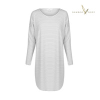 Niah Bamboo Long Sleeve Night Dress - Grey and Cream