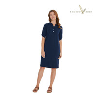Women's Bamboo Tab Sleeve Dress - Navy