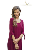 Women's Bamboo Tie Sleeve Dress - Wine