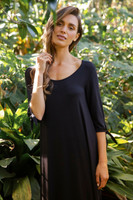 Women's Bamboo Tie Sleeve Dress - Black