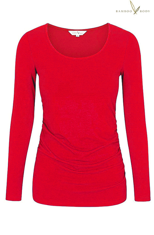 07ec6ede7862 Women s Long Sleeve Ruched Bamboo Tee - Red