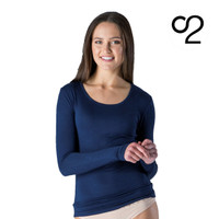 Long-Sleeved Bamboo Scoop Neck Top - Navy