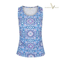 Women's Organic Cotton Bamboo Ruched Singlet - Mosaic