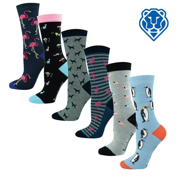 "Women's ""Bamboozld"" Business Socks - Animal Designs"