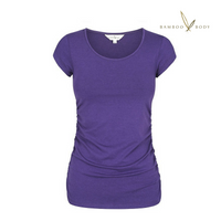 Women's Ruched Bamboo Tee - Acai