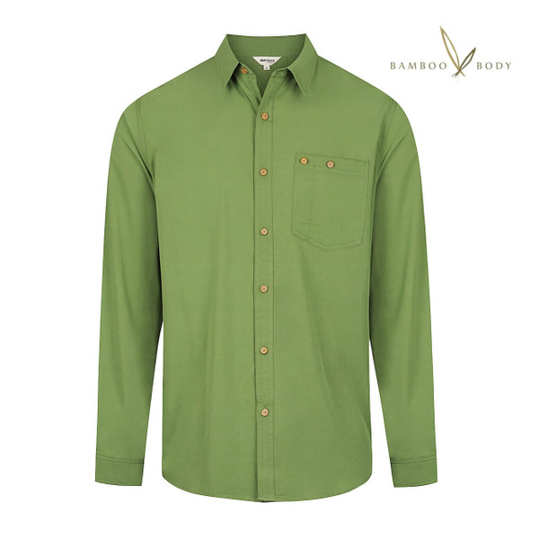 Men's Bamboo Woven Short Sleeve Button Shirt - Verdant Green