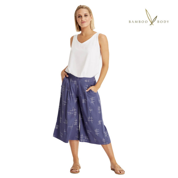 Woven Bamboo Culottes - Grid Print