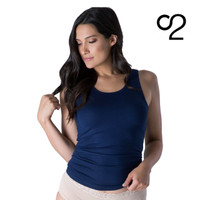 Scoop Neck Bamboo Tank Singlet - Navy