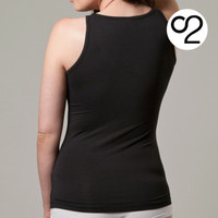 Scoop Neck Bamboo Tank Singlet - Black