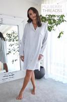 Harper Bamboo Long Sleeve Shirt Dress - Fog Stripe