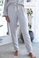 Harper Bamboo Pant - Fog Stripe