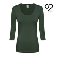 3/4 Sleeve Bamboo Scoop Top - Olive Grey