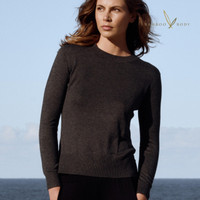 Women's Bamboo Crew Neck Knit - Charcoal