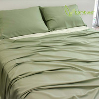Bamboo Twill Fitted Sheet by Bambusa - Green Tea
