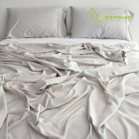 Bamboo Twill Fitted Sheet by Bambusa - Silver