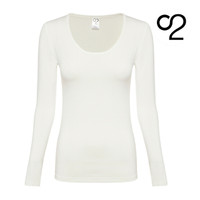 Long-Sleeved Bamboo Scoop Neck Top - Ivory