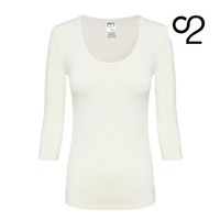 3/4 Sleeve Bamboo Scoop Top - Ivory