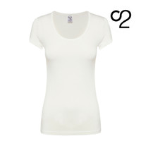 Bamboo T-Shirt with Scoop Neckline – Ivory